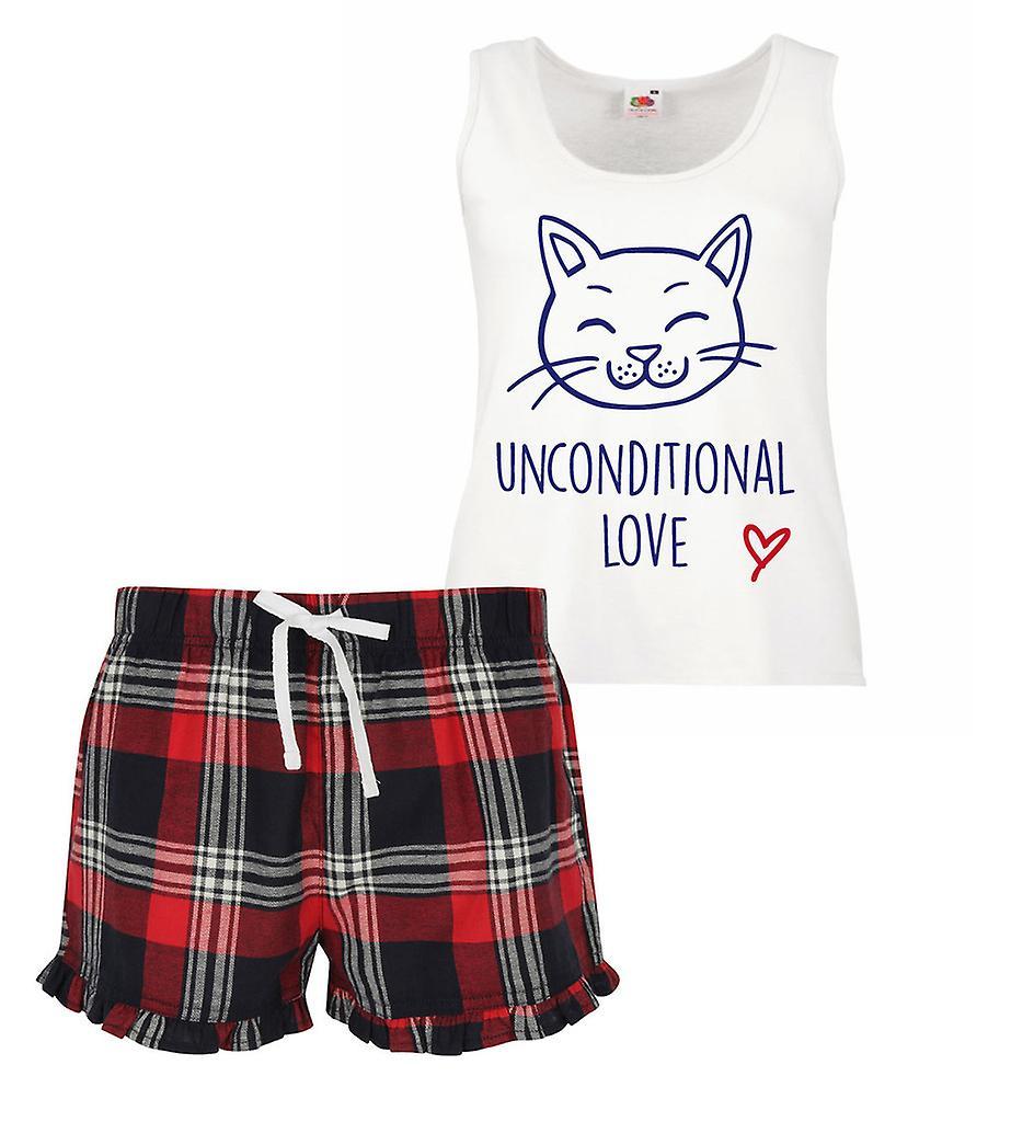 Unconditional Love Cat Ladies Tartan Frill Short Pyjama Set Red Blue or Green Blue