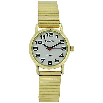 Ravel Ladies Gold Stainless Steel Soft Expanding Bracelet Strap Watch R0208.01.2