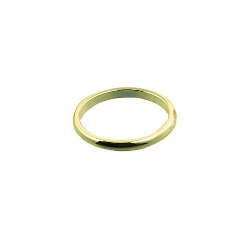 18ct Gold 2mm plain D shaped Wedding Ring Size N