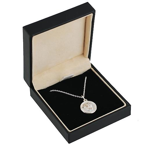 Silver 15mm round Pardre Pio pendant with Rolo chain