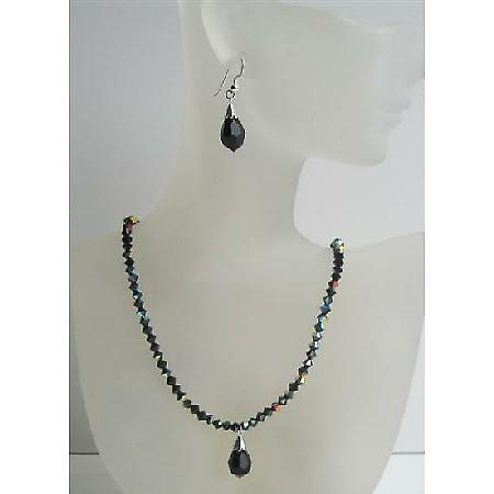 Black Swarovski Crystals Beaded Jewelry AB Jet Necklace Set Tear Drop