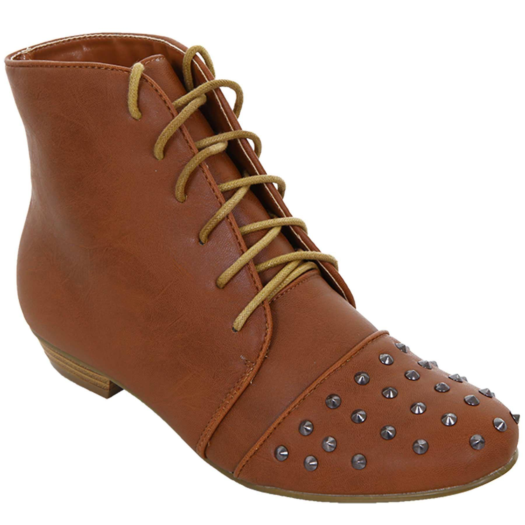 Ladies Studded Lace Up Faux Leather Tan Black Women's Flat Boots Shoes