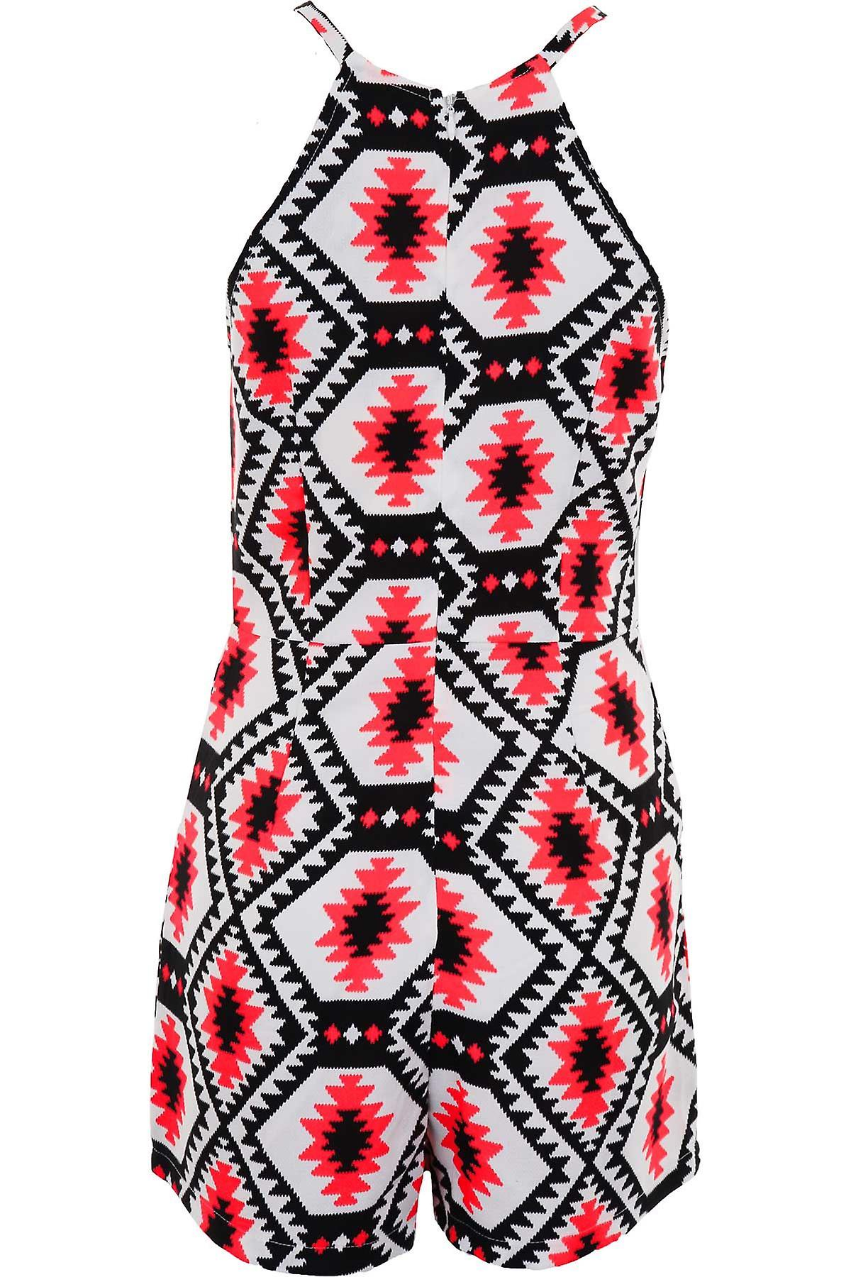 Ladies Strappy Neon Pink Aztec Print Women's Party Summer All In One Playsuit