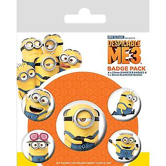 Despicable me 3 button set of 5 pieces minions material: sheet, printed. 1 x 3, 8cm & 4 x 2, 5cm in diameter.