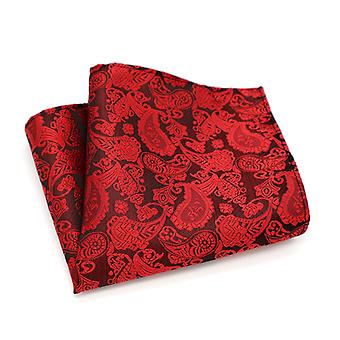 Burnt red & bright paisley dinner event pocket square