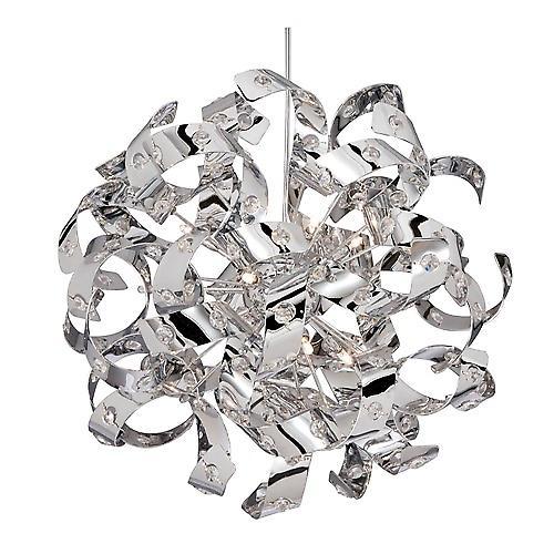 Searchlight 9812-12CC Curls 12 Light Chrome Curl Pendant Glass Beads