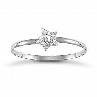 TOC Sterling Silver Crystal CZ Cubic Zirconia Star Childrens Bangle