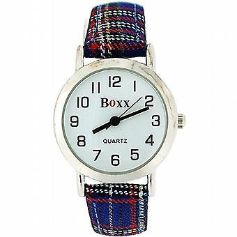 Boxx Unisex Children's Analogue Blue Tartan Fabric Strap Buckle Funky Watch