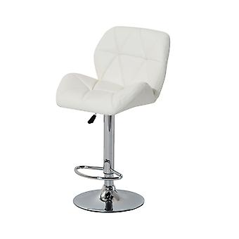 HOMCOM Diamond Design Swivel Leather Bar Stool Breakfast Barstool Kitchen Pub Dining Chair Gas Lift PU Chair Metal Chrome Base Adjustable Height (White)
