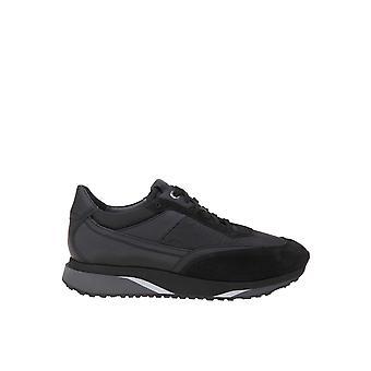 Santoni Black Fabric Sneakers