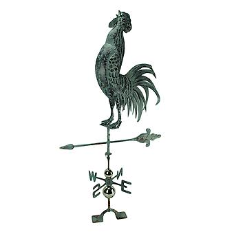 Verdigris Patina Metal Rooster Weather Vane con montaje en techo