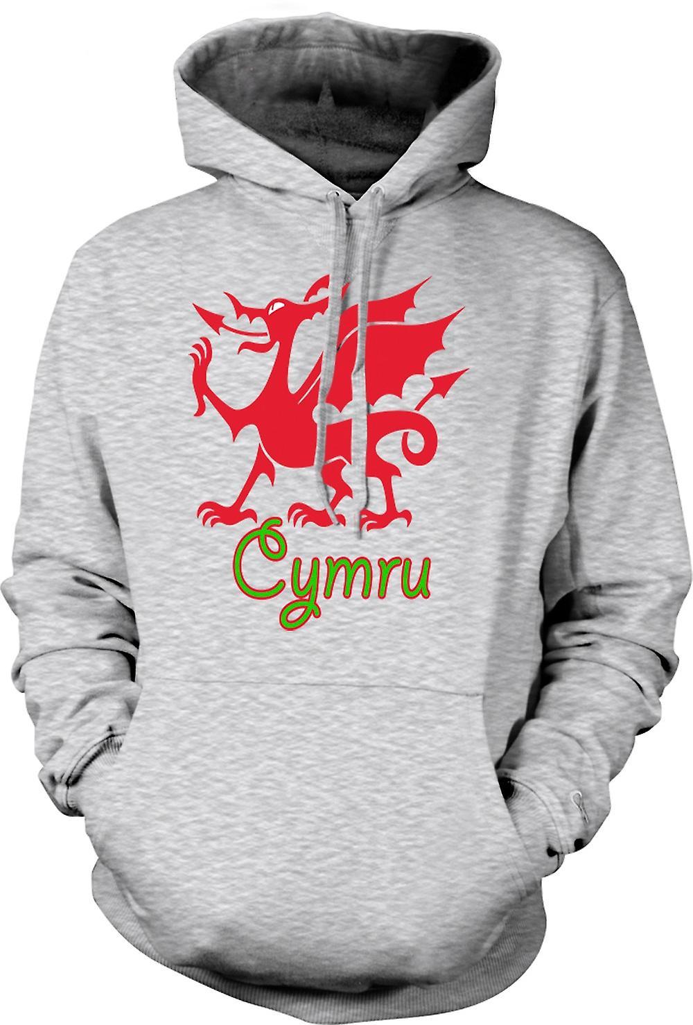 Mens hettegenser - walisiske dragen - Cymru