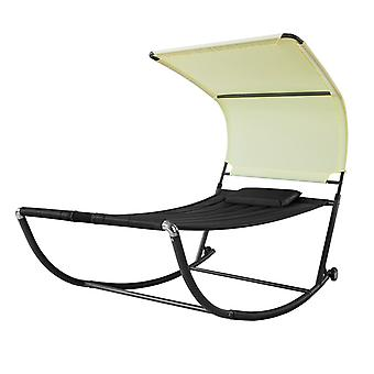 SoBuy Swing Sun Bed avec Sun Shade Outdoor Garden,OGS44-SCH