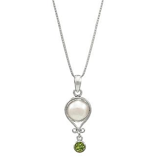 Eternal Collection August Peridot And Pearl Sterling Silver Birthstone Pendant