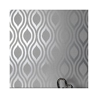 Arthouse Luxe Ogee Geo Wave Metallic Textured Vinyl Retro Wallpaper 910204