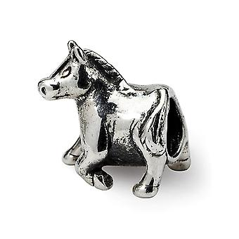 925 Sterling Argent Poli Antique finition Reflections Horse Bead Charm