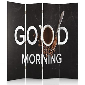 Room Divider, 4 Panels, Double-Sided, 360 ° Rotatable, Canvas, Good Morning