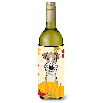 Wire Haired Fox Terrier Thanksgiving Wine Bottle Koozie Hugger BB2053LITERK