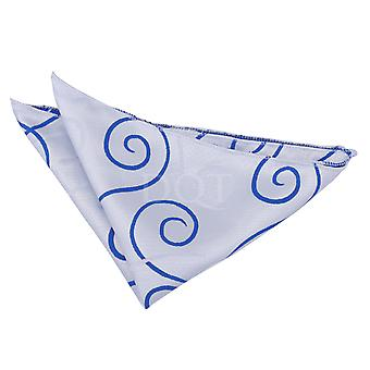 White & Royal Blue Scroll Patterned Handkerchief / Pocket Square