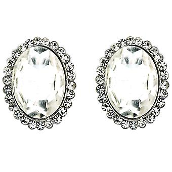 Clip On Earrings Store Silver & Crystal Oval Clip On Earrings