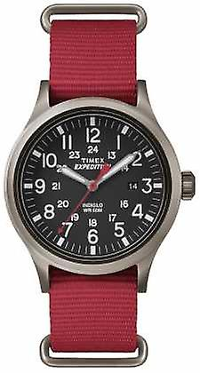 Timex Mens Scout Black Dial Red Fabric Strap TW4B04500 Watch