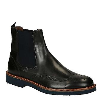 Black lux leather men's wingtip brogues chelsea boots