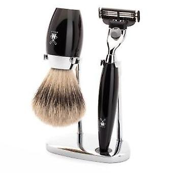 Muhle Kosmo Black Mach3 Razor and Silvertip Badger Brush Shaving Set