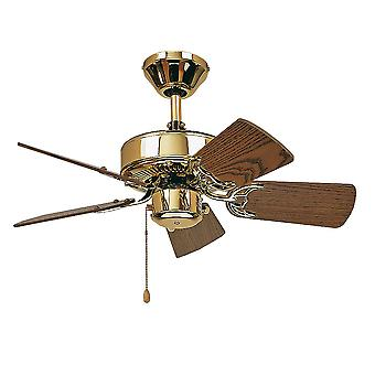 "Ceiling fan Classic ROYAL Brass polished with pull cord 75 cm to 132 cm / 30"" to 52"""