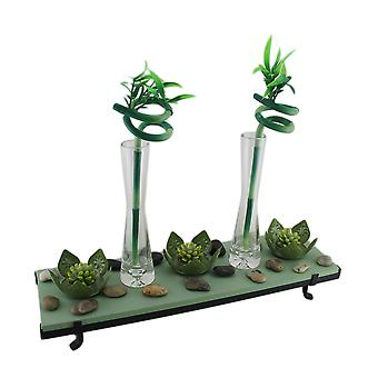 3 Lotus Flower Tealight Holder 2 Lucky Bamboo Candle Garden Set