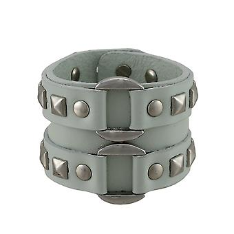 Gray Leather Double Chrome O Ring Wristband Bracelet