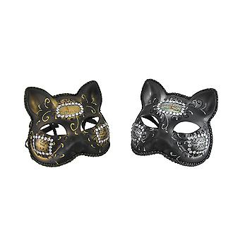 Pair of Venetian Style Jeweled Gatto Musica Carnivale Cat Masks