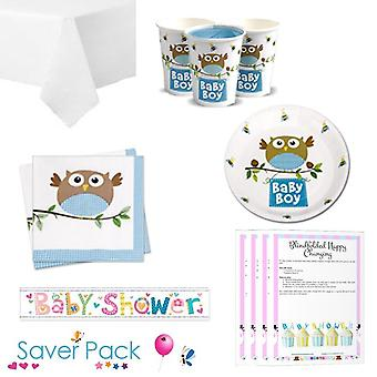Piccolo gufo Boy Baby doccia Party Tableware Saver Pack