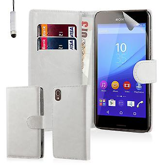 Book wallet case cover for Sony Xperia Z5 Compact - White