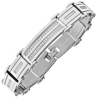 Iced Out Massiv Edelstahl Zirkonia Armband - 16mm silber