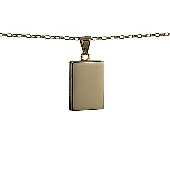 9ct Gold 22x15mm plain flat rectangular Locket with a belcher Chain 16 inches Only Suitable for Children