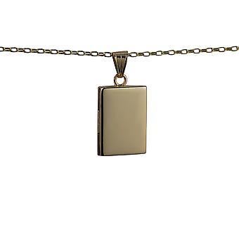 الذهب قيراط 9 بوصة المنجد مسطحة مستطيلة عادي 22x15mm مع بلشر 16 سلسلة مناسبة فقط للأطفال