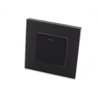 I LumoS Luxury Black Glass Frame 1 Gang 1 Way Rocker Wall Light Switches