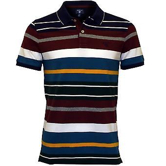 Gant Multi Stripe Pique Rugger Polo Shirt, Burgundy/Blue