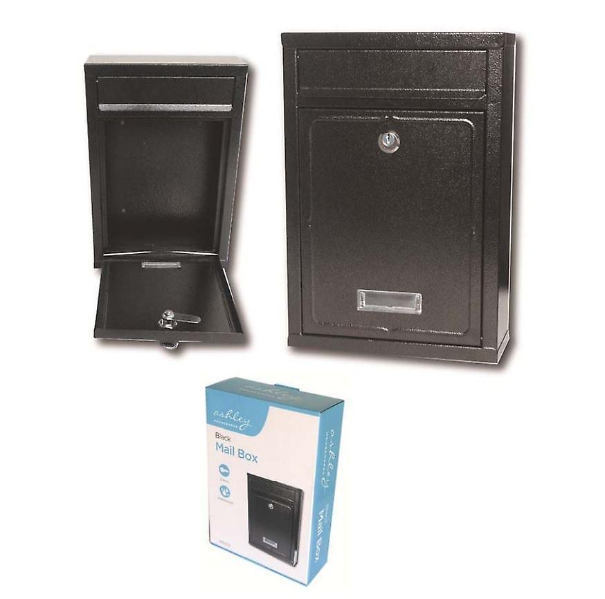 32x22cm Heavy Duty Steel Waterproof Black Mailbox Letter Post Box