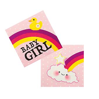 Boland Baby Shower Pink Baby Girl 12 Party Napkins With Rainbow & Clouds 33x33cm