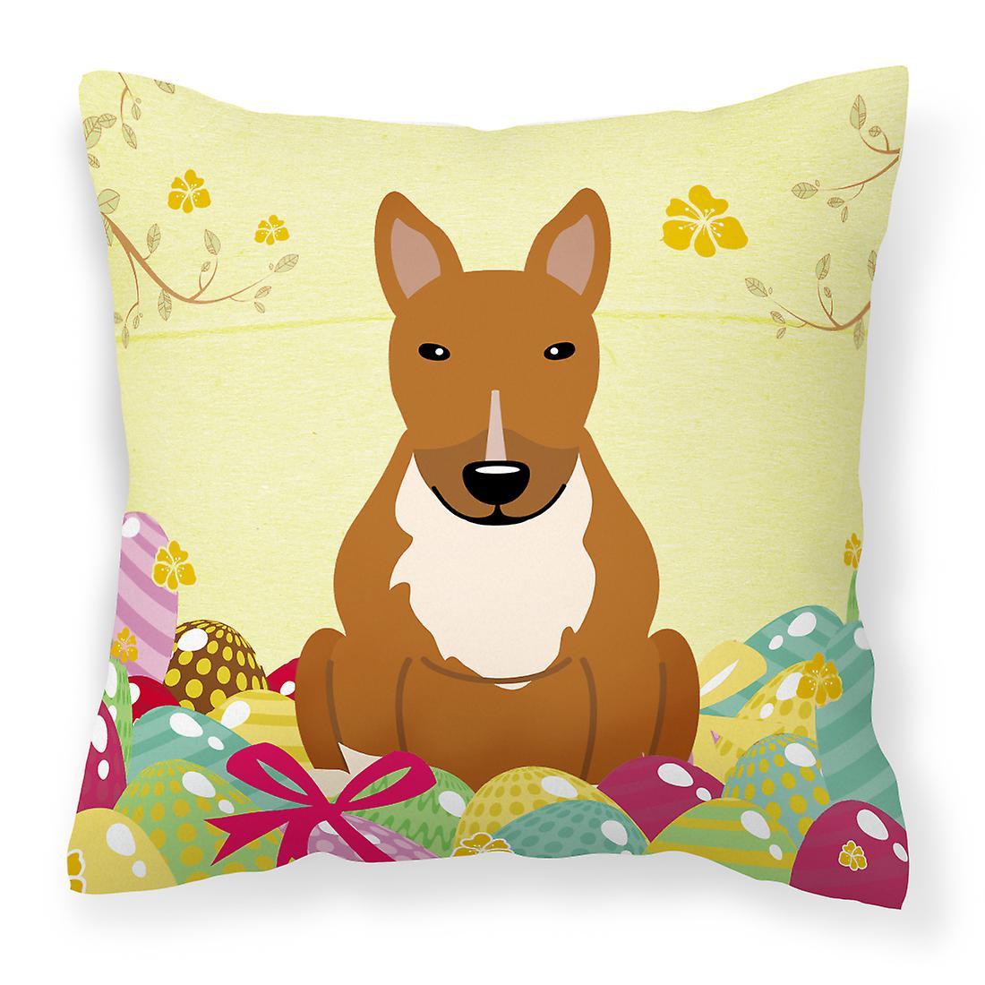 Oeufs de Pâques Bull Terrier rouge tissu oreiller décoratif