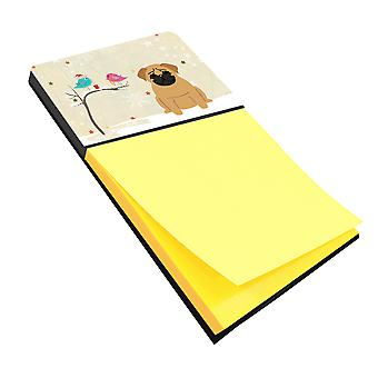 Christmas Presents between Friends Pug Brown Sticky Note Holder