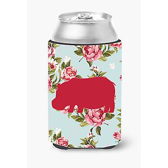 Hippopotamus Shabby Chic Blue Roses Can or Bottle Beverage Insulator Hugger BB11