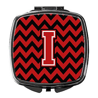 Carolines Treasures  CJ1047-ISCM Letter I Chevron Black and Red   Compact Mirror