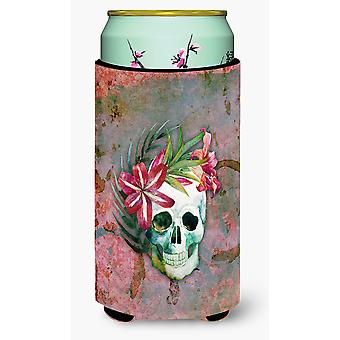 Day of the Dead Skull Flowers Tall Boy Beverage Insulator Hugger