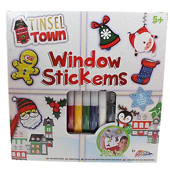 Grafix Tinsel Town Window Stickems Childrens Christmas Art Festive Activity