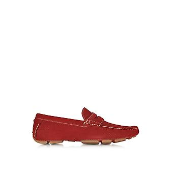A.Testoni men's M80327MOH97661GL3 red suede moccasins