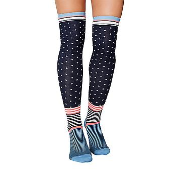 Jemima women's soft bamboo over-the-knee socks in navy | By Thought