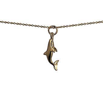 9kt guld 22x7mm svømning Dolphin vedhæng med et kabel kæde 16 inches kun egnet for børn