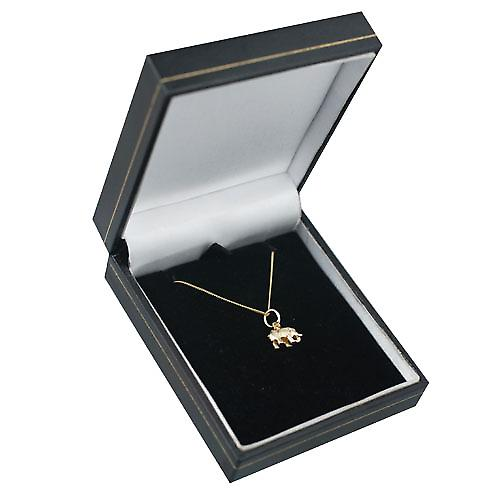 9ct Gold 7x10mm Indian Elephant Pendant with a curb Chain 16 inches Only Suitable for Children